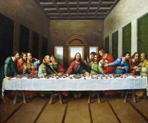 Układanka Wieczerzy Pańskiej lub Ostatniej Wieczerzy - Jezus zebrane z Apostołami w nocy z Wielkiego Czwartku