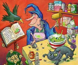 Układanka Wiedźma przygotowanie magiczny eliksir z dziwnych składników