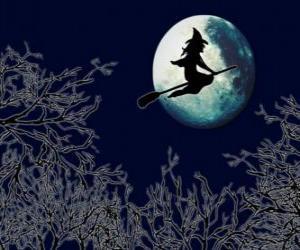 Układanka Wiedźma w niej magia miotła pływające w kierunku zamku na noc pełni księżyca