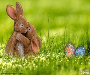 Układanka Wielkanoc królików przyjęli