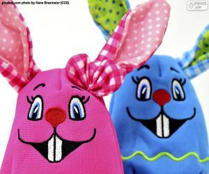 Układanka Wielkanoc królików tkaniny