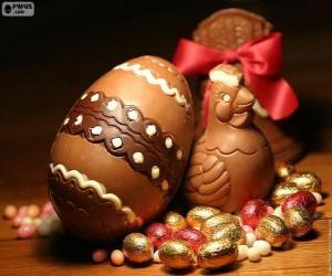 Układanka Wielkanoc kurczaka i jaj