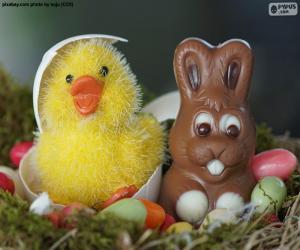 Układanka Wielkanocny kurczak i królik
