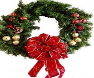 Układanka Wieniec Christmas urządzone z dużą wstążką i kule