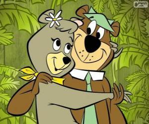 Układanka Yogi i Cindy, dwóch kochanków niedźwiedzie w parku Jellystone