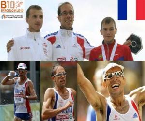 Układanka Yohan Diniz 50 spacerem mistrz km, i Siergiej Bakulin Grzegorz Sudol (2 i 3) z Barcelona Mistrzostwa Europy w Lekkoatletyce 2010