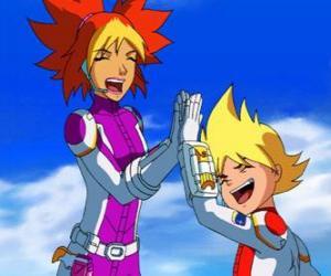 Układanka Yoko i Brett do swoich kosmicznych, są to dwa członków Team Galaxy