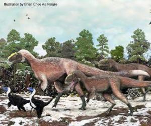 Układanka Yutyrannus z prawie 9 metrów długości jest największym dinozaurów z piór znane