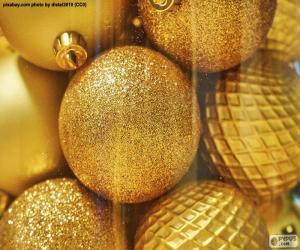 Układanka Złote kulki na święta