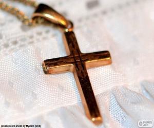 Układanka Złoty wisiorek krzyż