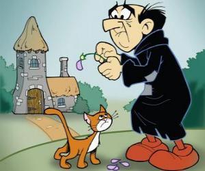 Układanka Zły czarnoksiężnik Gargamel i jego kot Azrael, wrogów smerfów
