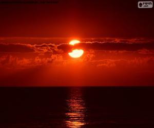Układanka Zachód słońca nad morzem
