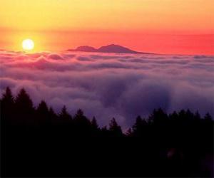 Układanka Zachód słońca w górach