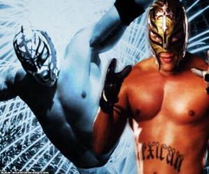 Układanka zapaśnik profesjonalny z maską przygotowany do walki, wrestlingu to show sport