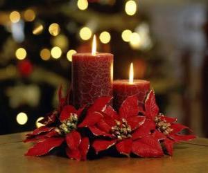 Układanka Zapalone świece jako centralny kwiatami Boże Narodzenie