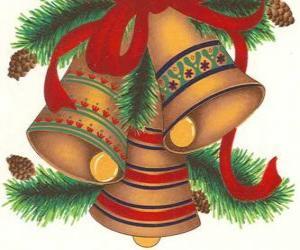 Układanka Zestaw trzech dzwonów zdobione dekoracje świąteczne