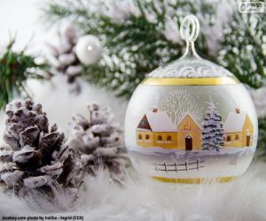 Układanka Zimą wieś piłka
