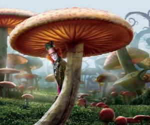Układanka Zwariowany Kapelusznik (Johnny Depp), ukryte pod grzyb