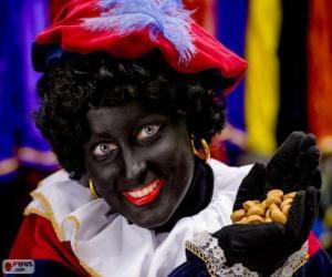 Układanka Zwarte Piet, Czarny Piotruś, asystenta Świętego Mikołaja w Holandii i Belgii
