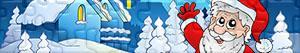 Puzzle Święty Mikołaj, reniferów i elfy